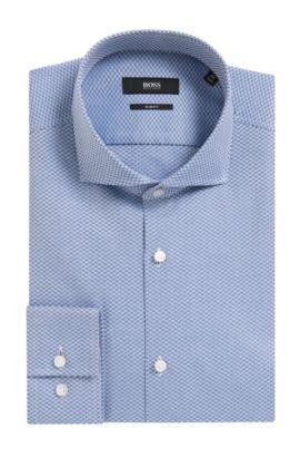 Checked Italian Cotton Dress Shirt, Slim Fit | Jason, Open Blue