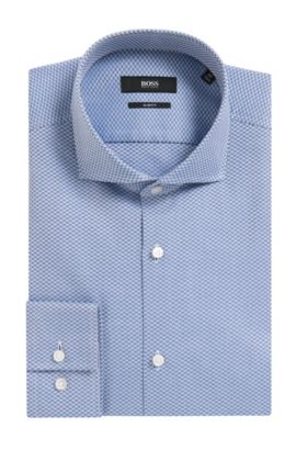Checked Italian Cotton Dress Shirt, Slim Fit | Jason, Open Blue