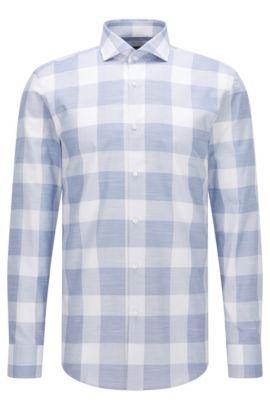 Buffalo Check Italian Cotton Dress Shirt, Slim Fit | Jason, Open Blue