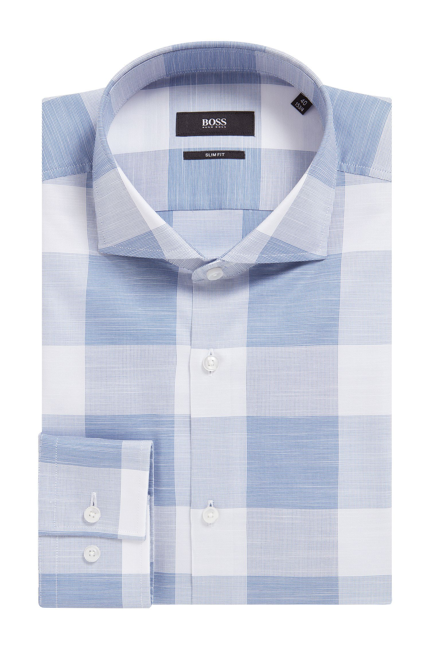 Buffalo Check Italian Cotton Dress Shirt, Slim Fit | Jason