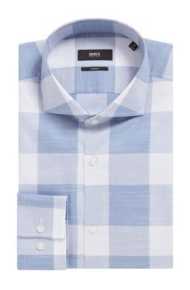 Buffalo Check Italian Cotton Dress Shirt, Slim Fit | Jason, Open Blue
