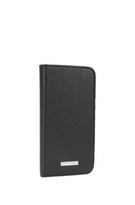 Calfskin Embossed iPhone 7 Phone Case | Signature Phone Flap, Black