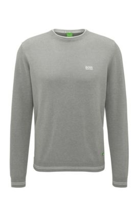 'Rime' | Regular Fit, Cotton Blend Sweater, Light Grey