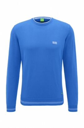 'Rime' | Regular Fit, Cotton Blend Sweater, Open Blue