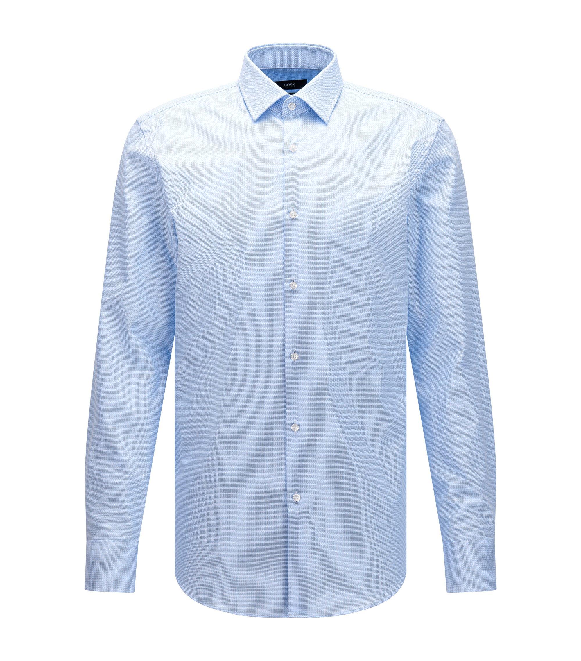Nailhead Cotton Traveler Dress Shirt, Slim Fit   Jenno, Light Blue