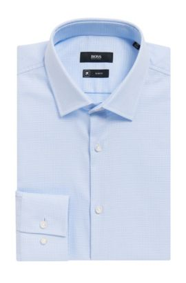 Nailhead Cotton Traveler Dress Shirt, Slim Fit | Jenno, Light Blue