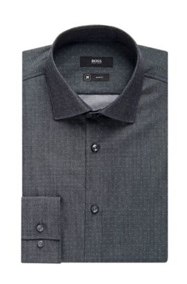 'Ismo' | Slim Fit, Traveler Microdot Cotton Dress Shirt, Charcoal