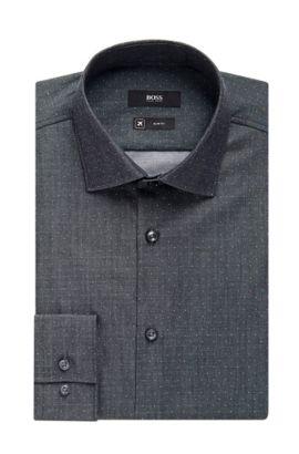 'Ismo' | Slim Fit, Traveler Microdot Cotton Dress Shirt, Charcoal