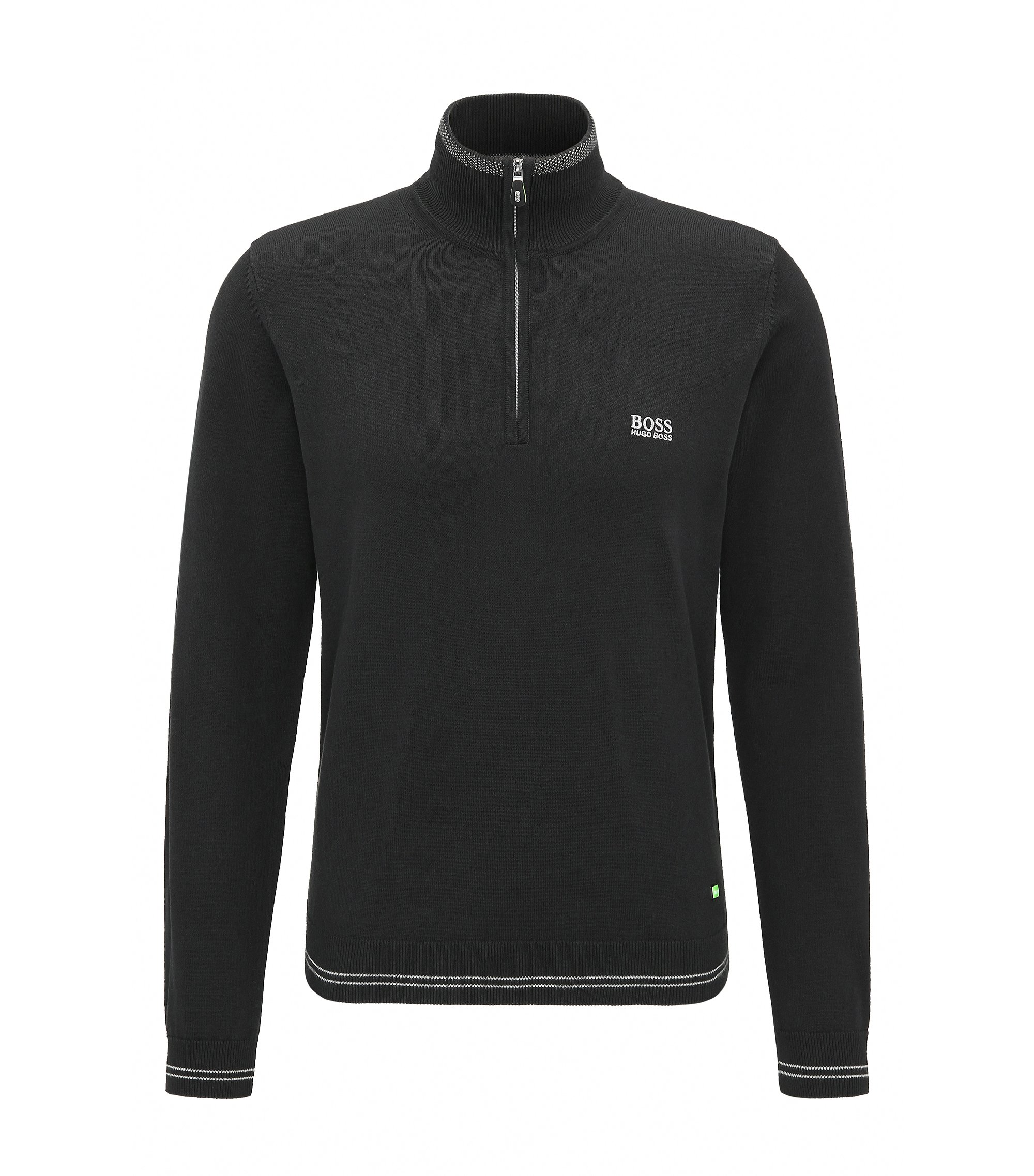 Cotton Blend Half-Zip Sweater | Zime W17, Black