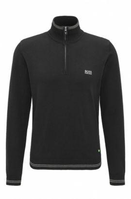 'Zime W17' | Cotton Blend Half-Zip Sweater, Black