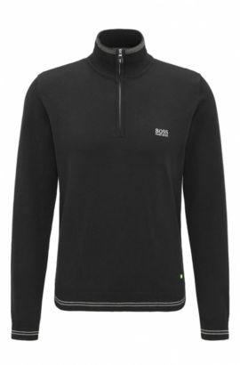 'Zime W17' | Cotton Blend Half-Zip Sweater, Black