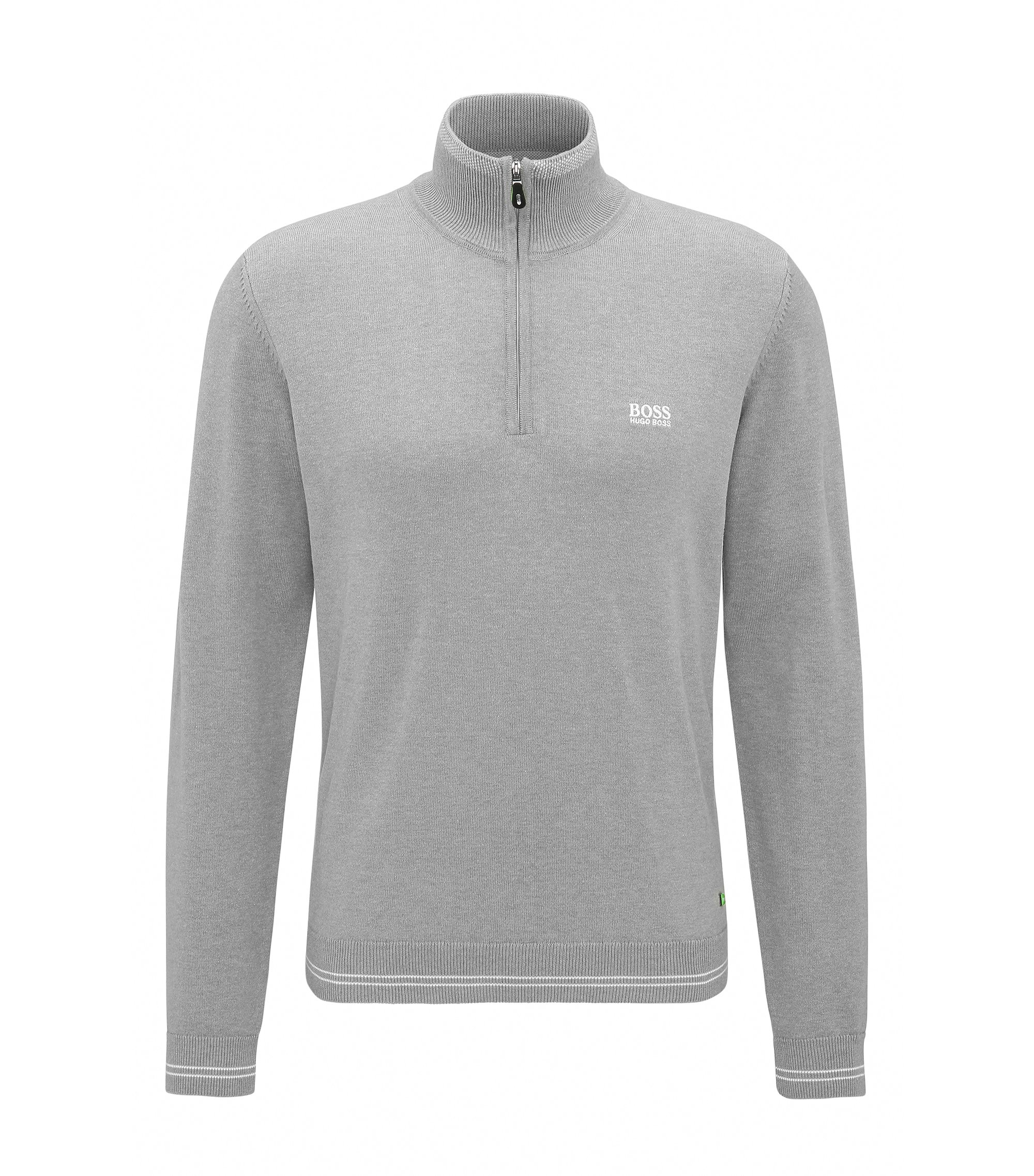 Cotton Blend Half-Zip Sweater | Zime W17, Light Grey