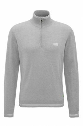 'Zime W17' | Cotton Blend Half-Zip Sweater, Light Grey