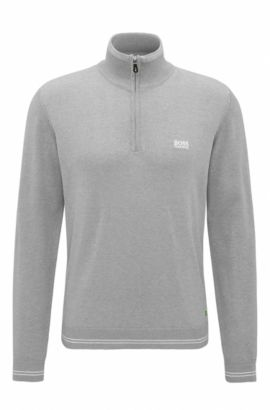 'Zime W17' | Cotton Blend Half-Zip Sweater, Light Grey