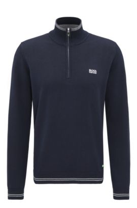 'Zime W17' | Cotton Blend Half-Zip Sweater, Dark Blue