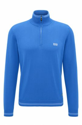 'Zime W17' | Cotton Blend Half-Zip Sweater, Open Blue