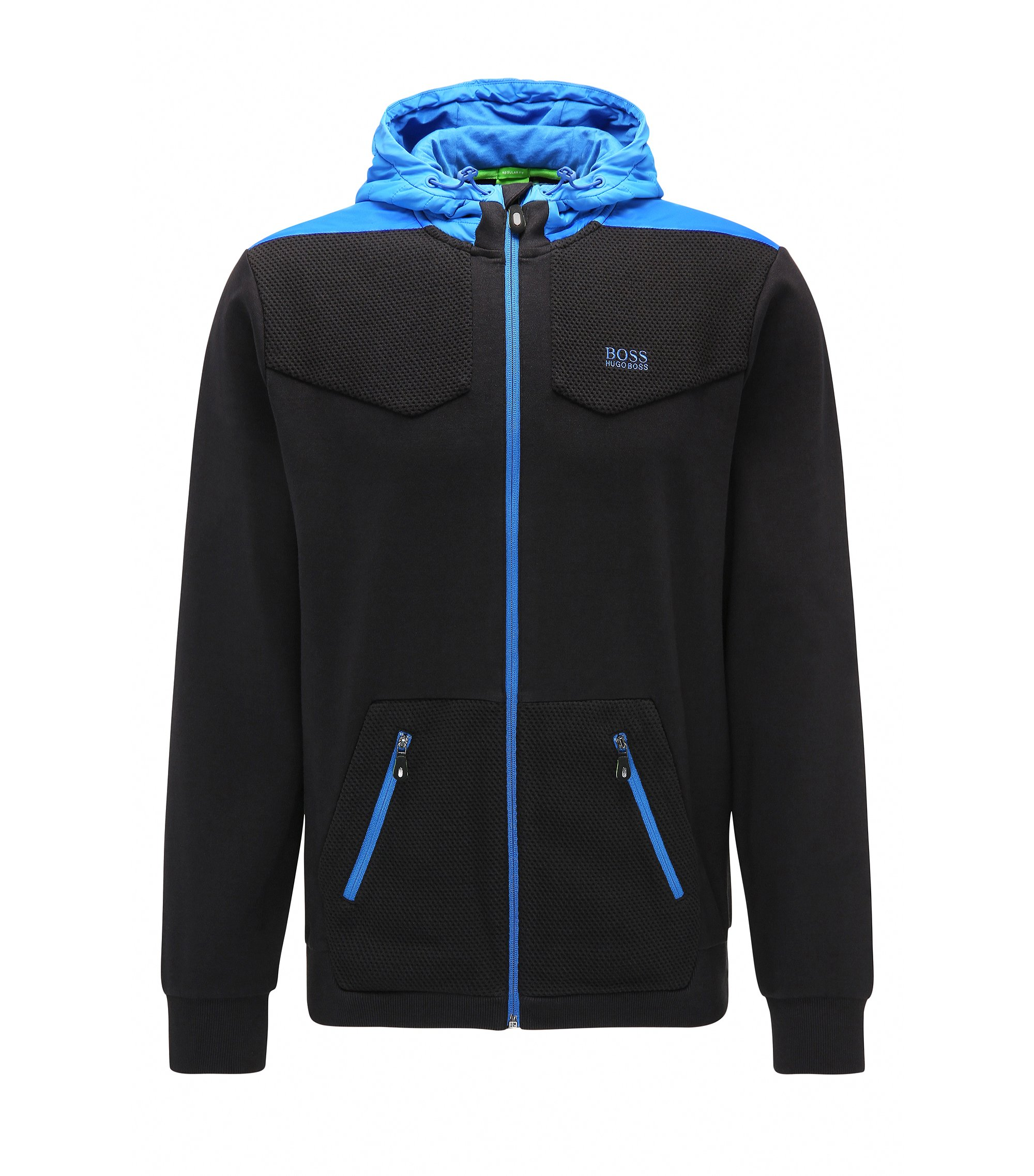 Cotton Full-Zip Hoodie, Regular Fit | Sivon, Black