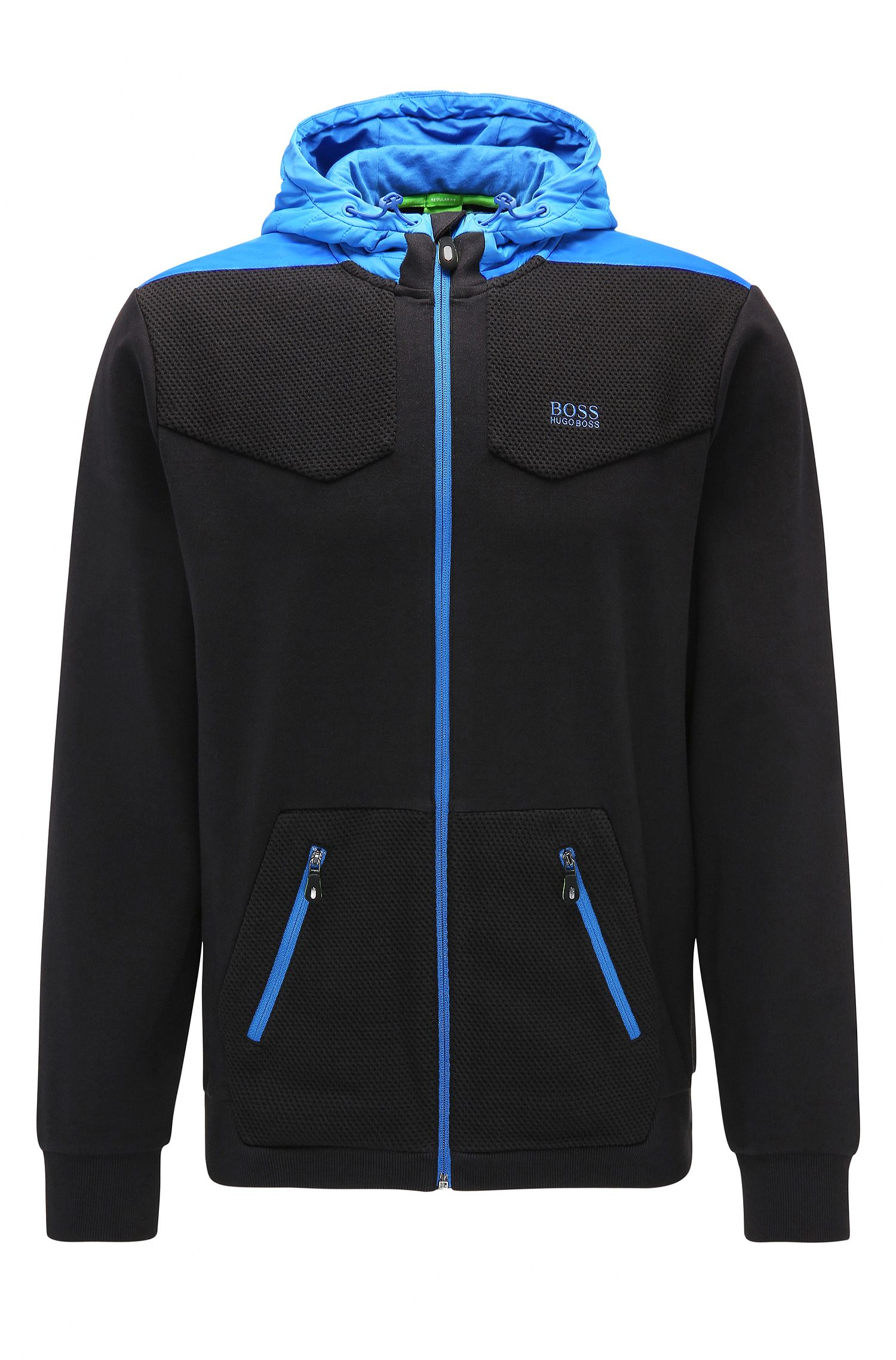 Cotton Full-Zip Hoodie, Regular Fit | Sivon, Black