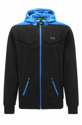 'Sivon' | Regular Fit, Cotton Full-Zip Hoodie, Black