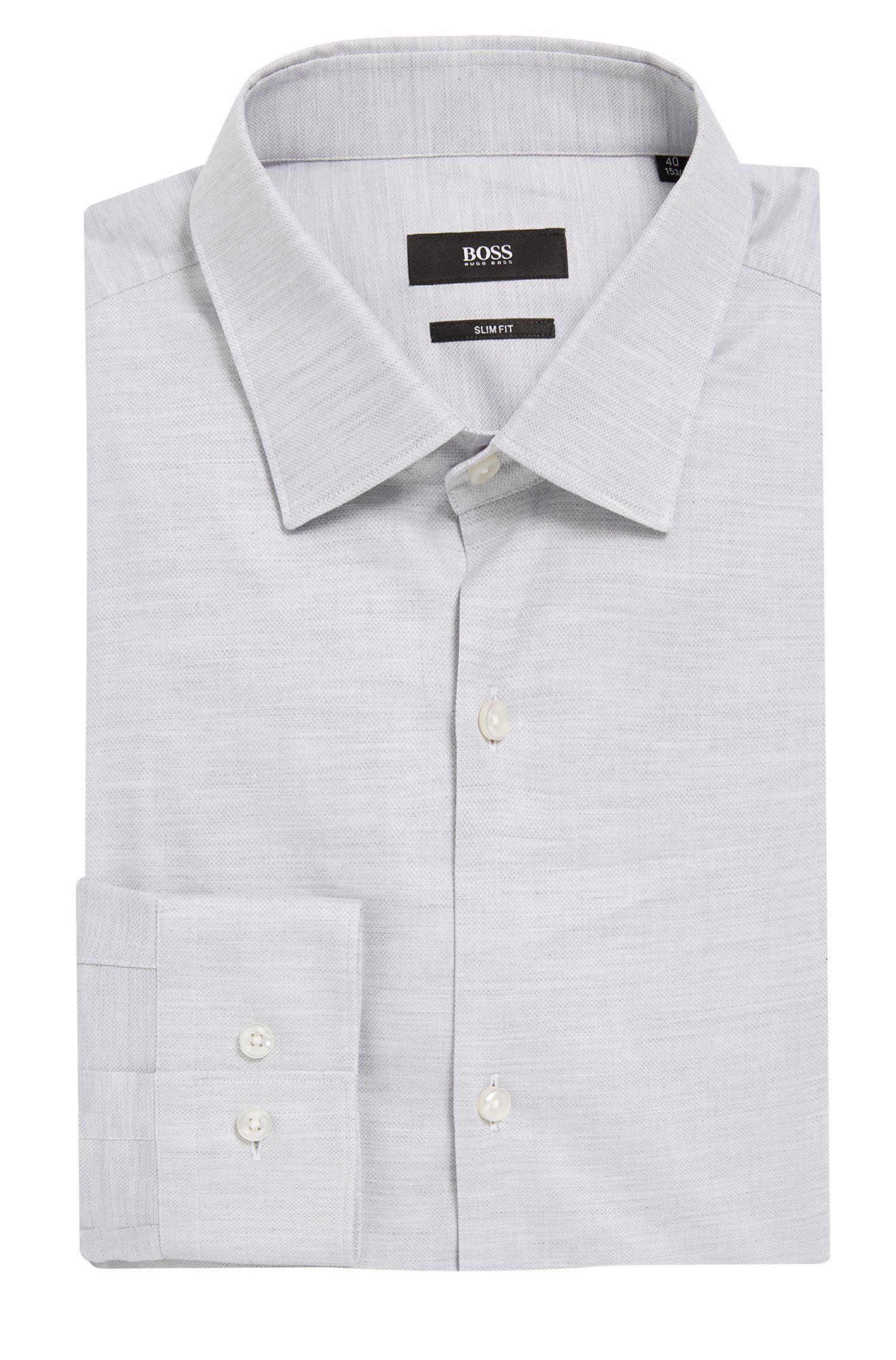 Yarn-Dyed Cotton Oxford Dress Shirt, Slim Fit | Ismo, Light Grey