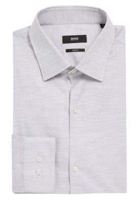 Yarn-Dyed Oxford Cotton Dress Shirt, Slim Fit | Ismo, Light Grey