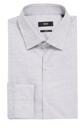 Yarn-Dyed Oxford Cotton Dress Shirt, Slim Fit | Ismo, Light Grey