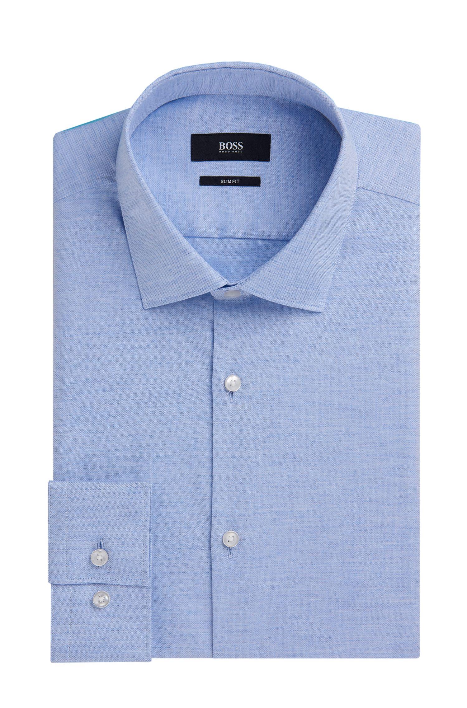 Yarn-Dyed Cotton Oxford Dress Shirt, Slim Fit | Ismo