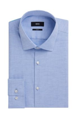 Yarn-Dyed Cotton Oxford Dress Shirt, Slim Fit | Ismo, Light Blue
