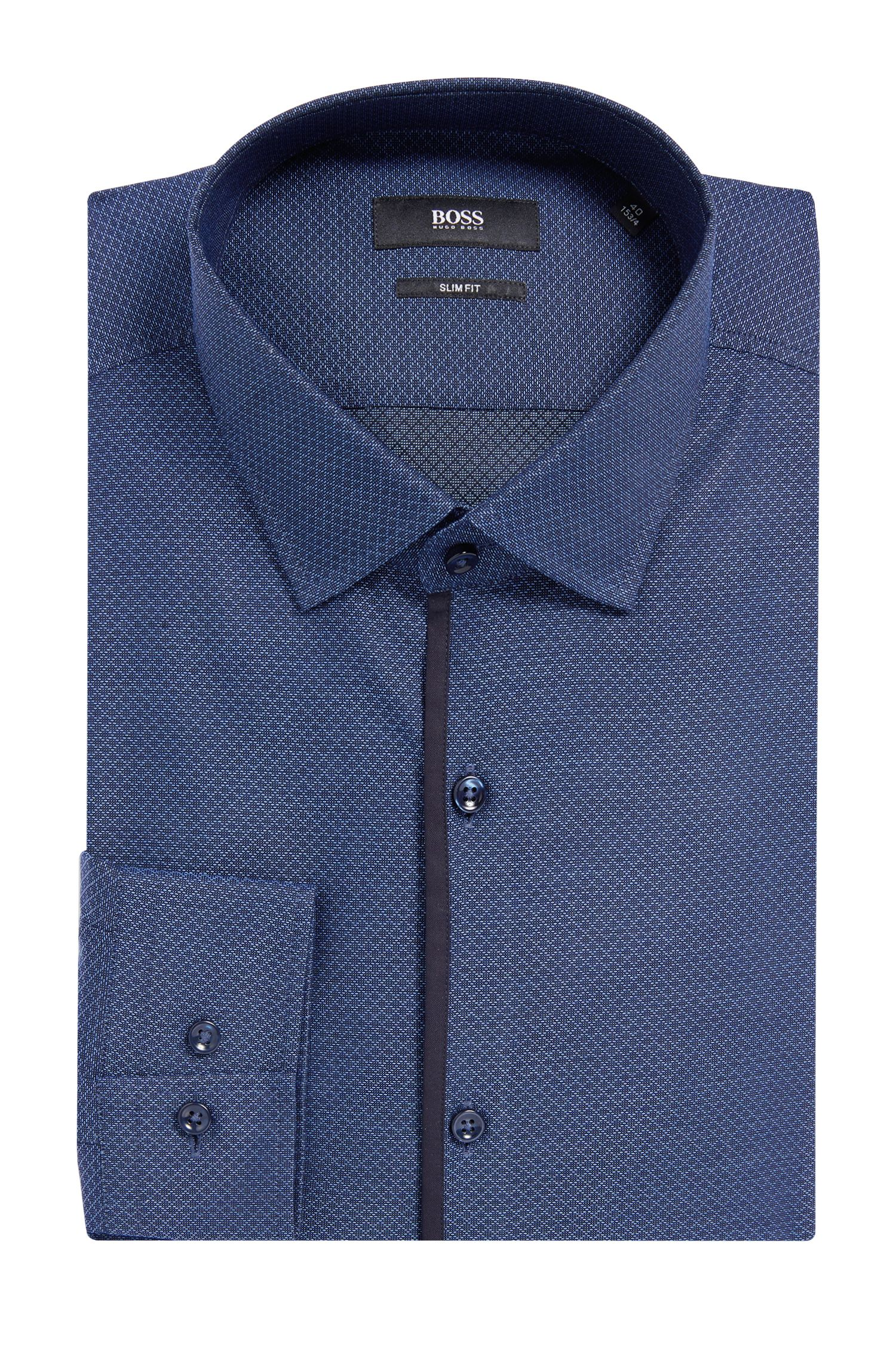 'Jeldrik' | Slim Fit, Diamond Pattern Cotton Dress Shirt