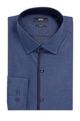 'Jeldrik' | Slim Fit, Diamond Pattern Cotton Dress Shirt, Dark Blue