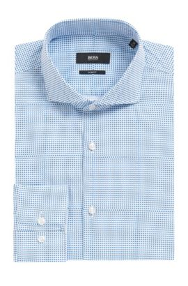 Microdot Cotton Dress Shirt, Slim Fit | Jason, Turquoise