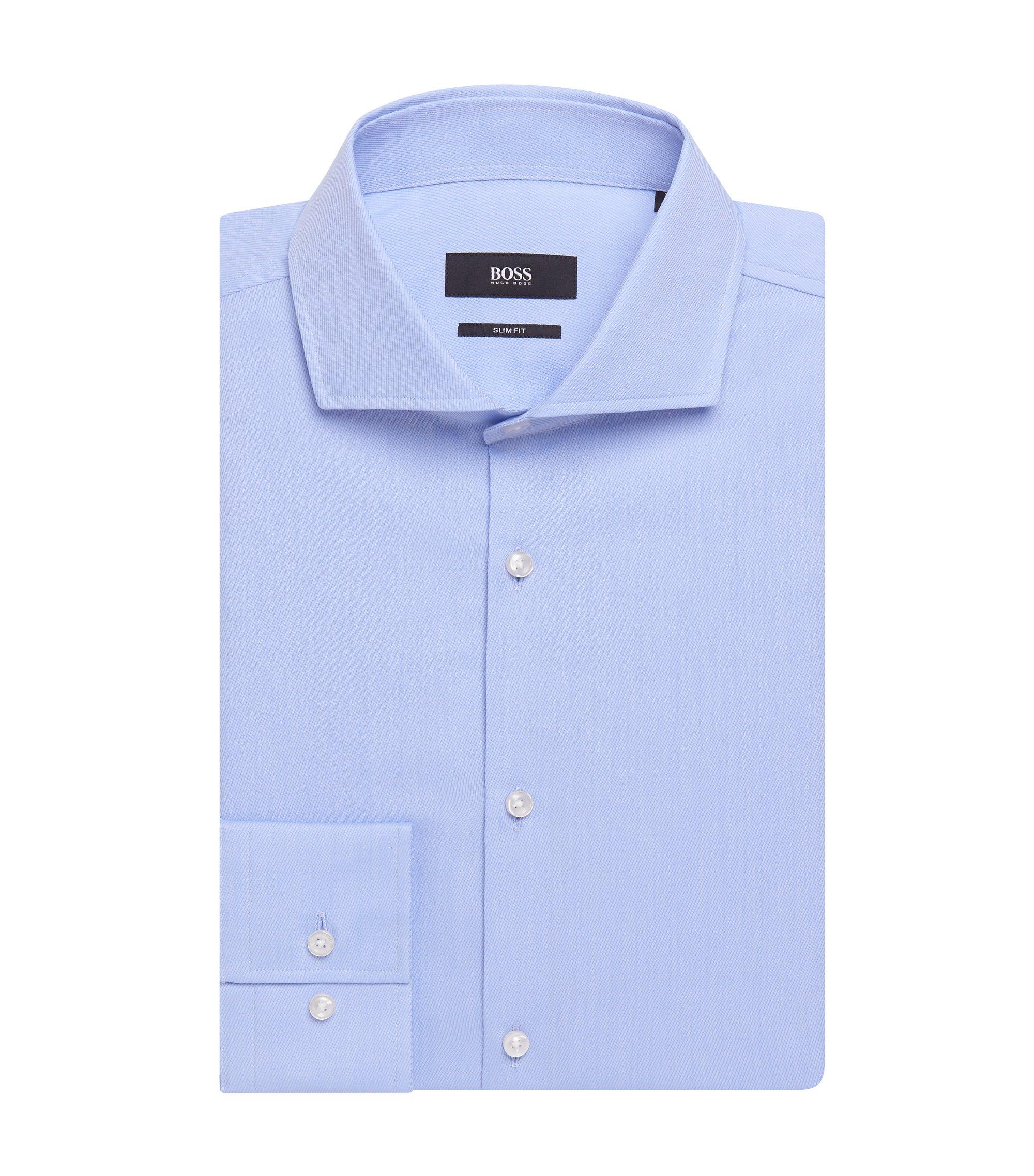 Traveler Cotton Dress Shirt with Stretch Tailoring, Slim Fit | Jason, Light Blue
