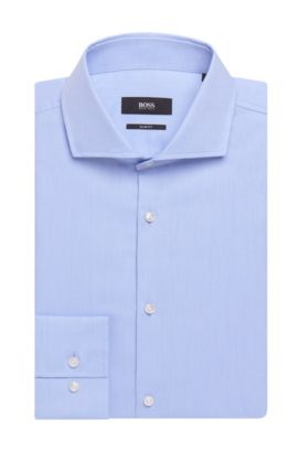 'Jason' | Slim Fit, Pindot Traveler Cotton Dress Shirt, Light Blue