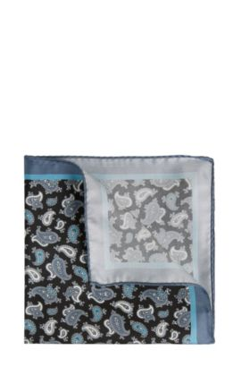 'Pocket sq. cm 33x33' | Patterned Italian Silk Pocket Square, Black