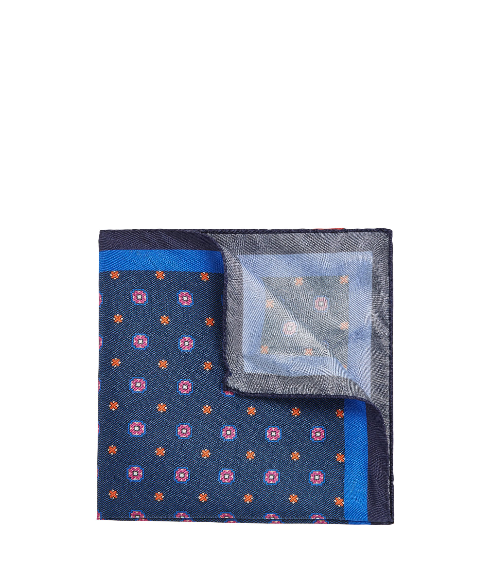 Patterned Italian Silk Pocket Square, Dark Blue