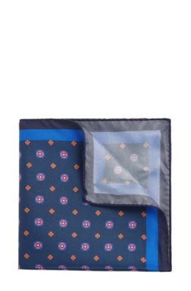 'Pocket sq. cm 33x33' | Patterned Italian Silk Pocket Square, Dark Blue