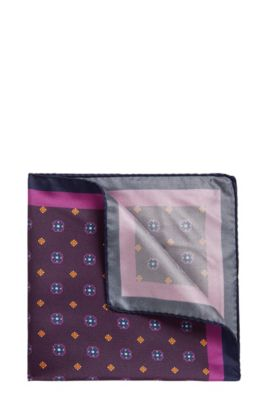 'Pocket sq. cm 33x33' | Patterned Italian Silk Pocket Square, Dark Red