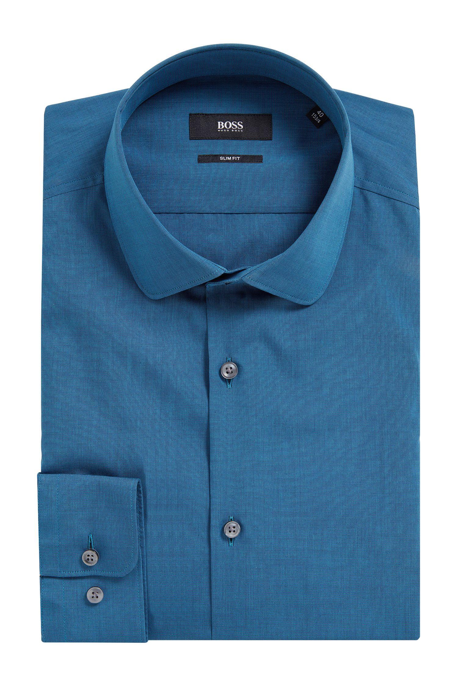 Cotton Poplin Dress Shirt, Slim Fit | Joshua, Turquoise