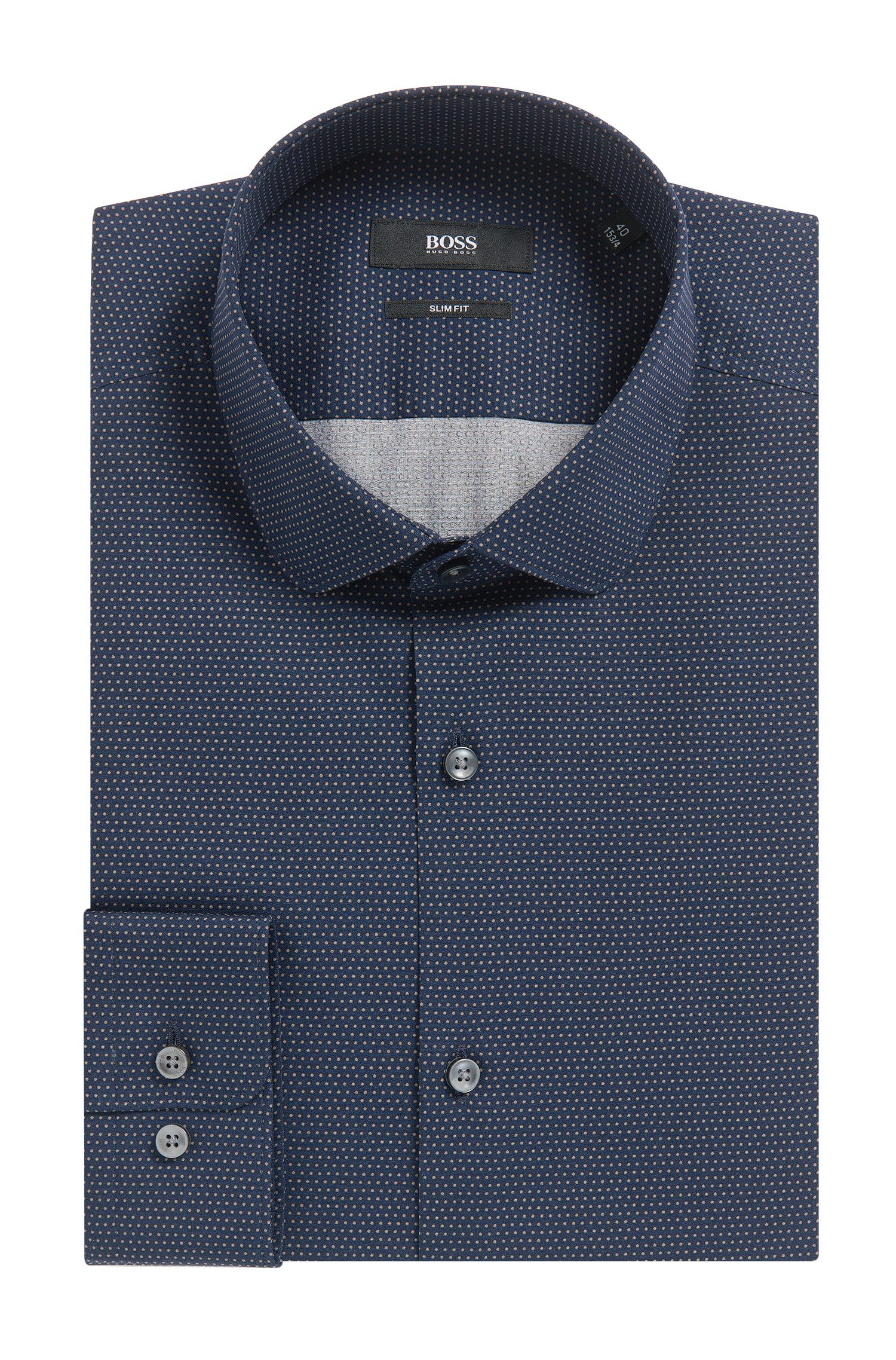 Pindot Cotton Poplin Dress Shirt, Slim Fit | Joshua