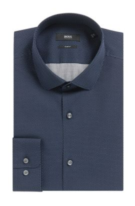 Pindot Cotton Poplin Dress Shirt, Slim Fit | Joshua, Dark Blue