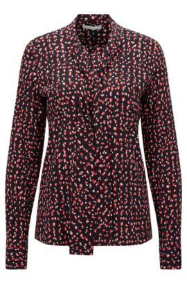 'Rivasa' | Dotted Stretch Crepe Blouse, Patterned