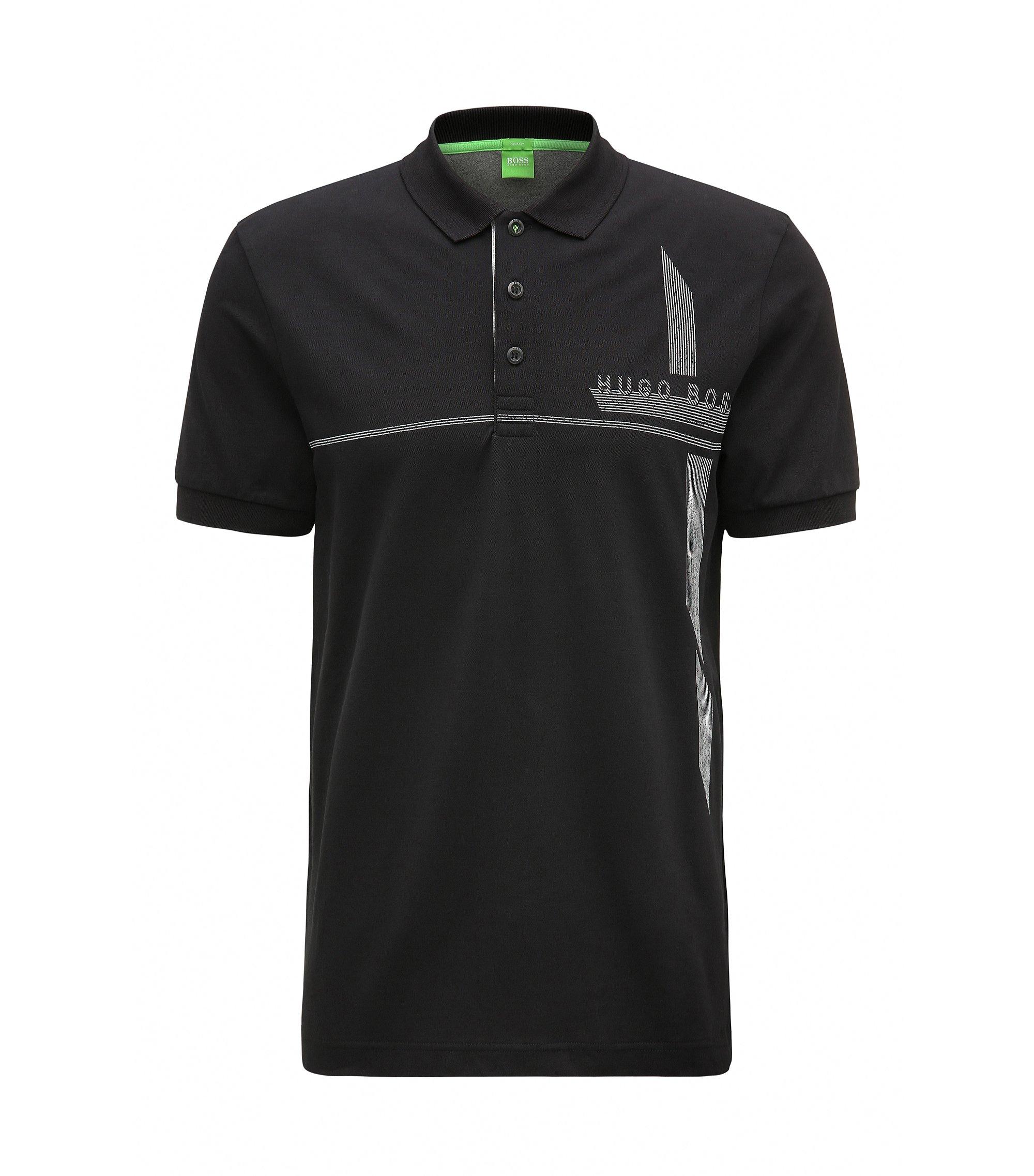 Piqué Stretch Cotton Polo Shirt, Slim Fit   M-Paule, Black