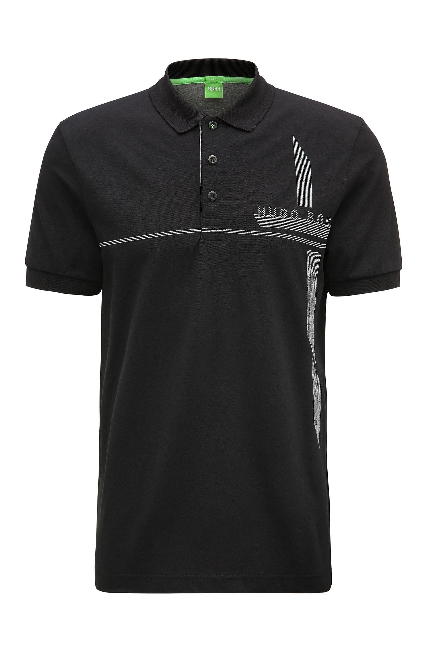 Piqué Stretch Cotton Polo Shirt, Slim Fit   M-Paule
