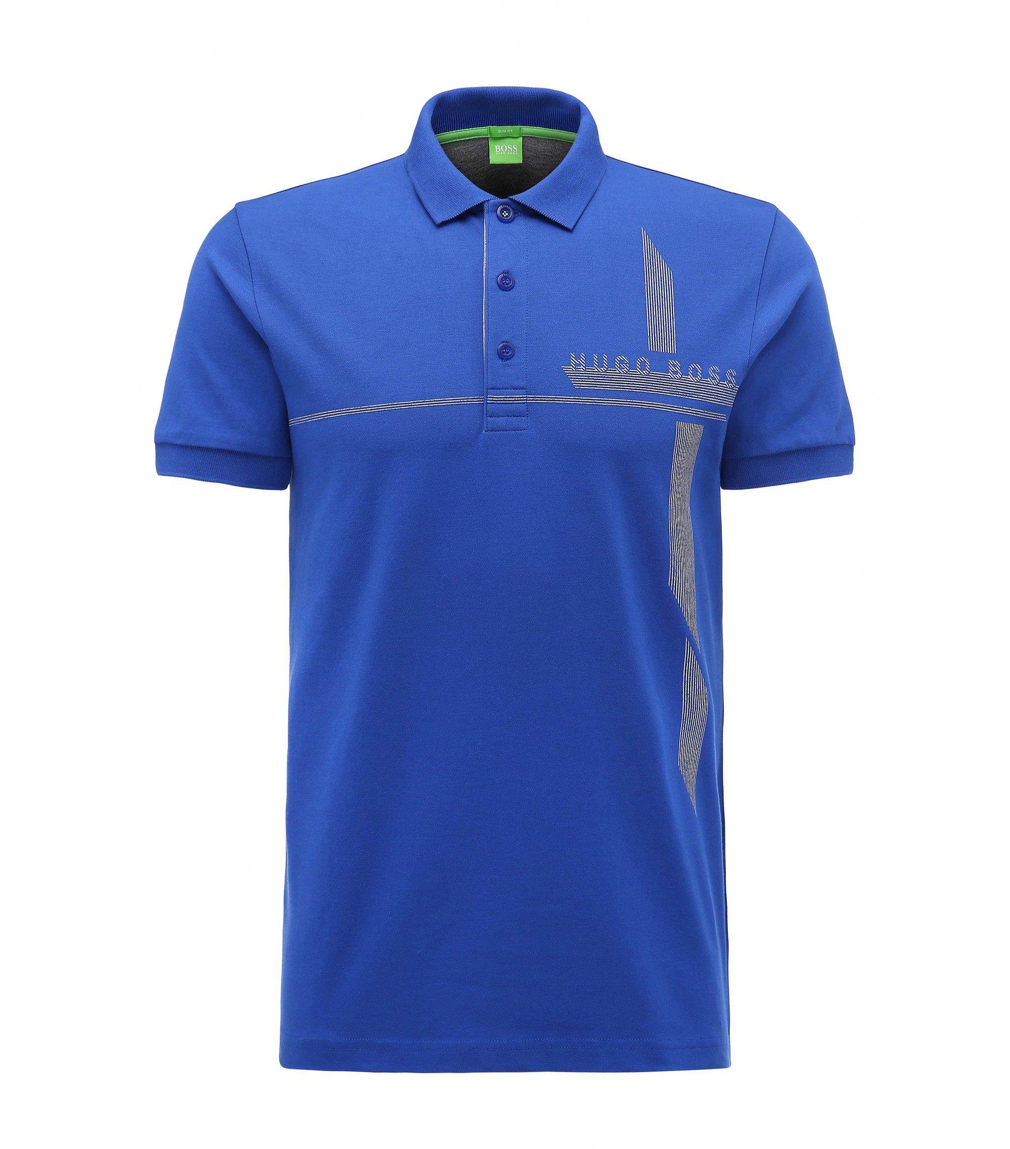Piqué Stretch Cotton Polo Shirt, Slim Fit | M-Paule, Blue