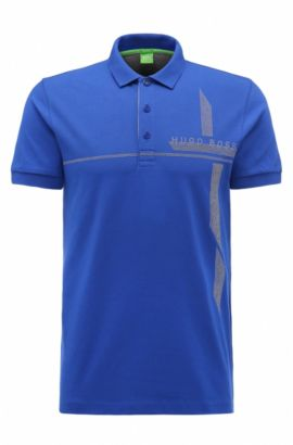 Piqué Stretch Cotton Polo Shirt, Slim Fit | M-Paule, Blue
