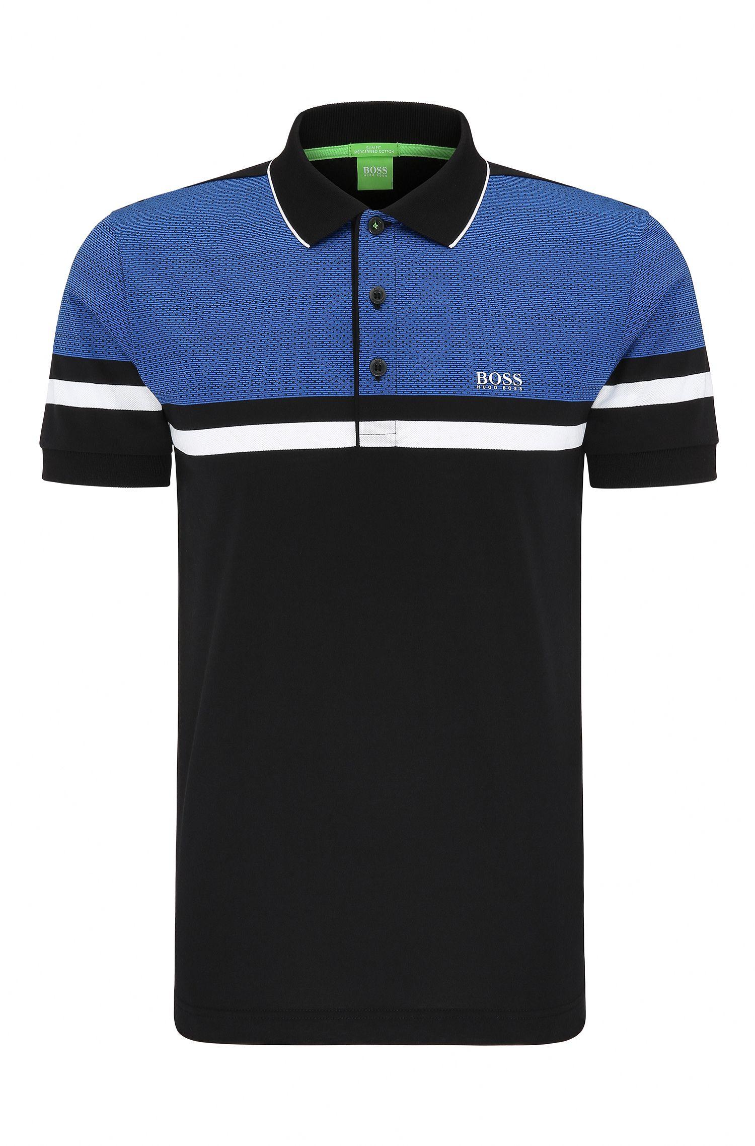 Geo Print Pique Cotton Polo Shirt, Slim Fit | Paule