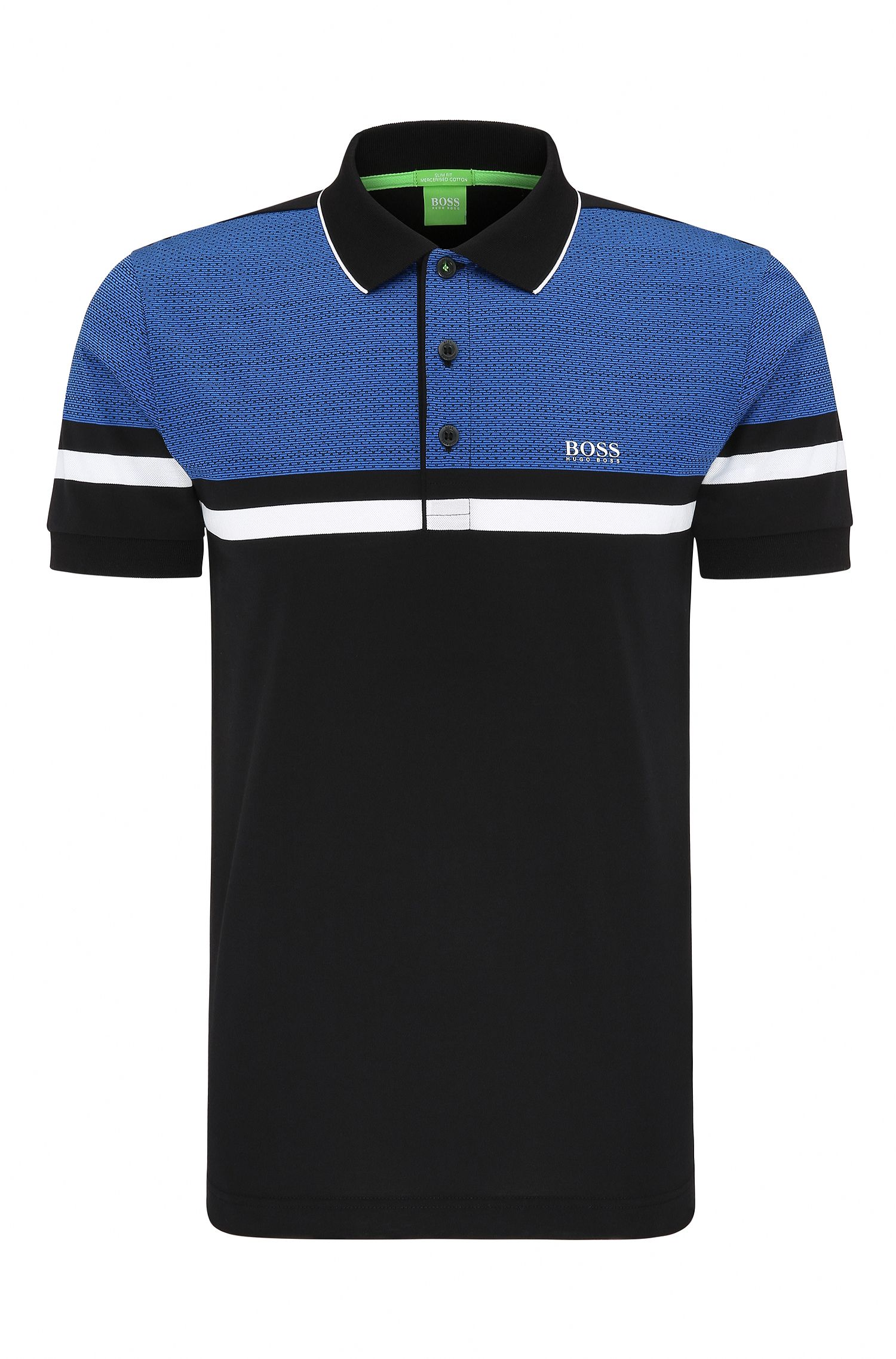 Geo Print Pique Cotton Polo Shirt, Slim Fit | Paule