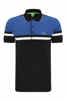 'Paule' | Slim Fit, Geo Print Pique Cotton Polo Shirt, Black