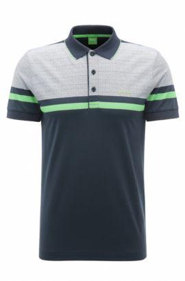 Geo Print Pique Cotton Polo Shirt, Slim Fit   Paule , Dark Blue