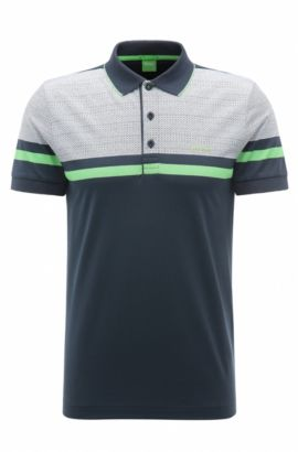 Geo Print Pique Cotton Polo Shirt, Slim Fit | Paule , Dark Blue